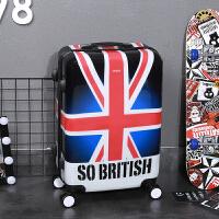 拉杆箱万向轮韩版小清新行李箱个性涂鸦旅行箱学生男女20寸24寸潮 深蓝色 米字旗