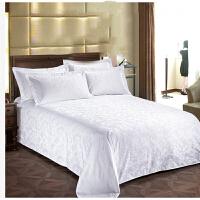 酒店宾馆床上用品60支白色床单单件贡缎提花床罩被单