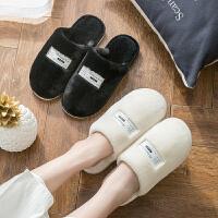 棉拖鞋女冬季情侣室内居家用防滑保暖厚底月子鞋毛毛拖鞋男士