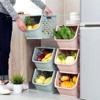 可叠加收纳筐塑料玩具收纳篮 厨房零食蔬菜筐子浴室置物架储物篮