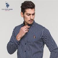 U.S. POLO ASSN.男装棉质修身长袖衬衫男士商务青年休闲条纹衬衣
