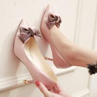少女高跟鞋女2018秋季韩版新款小清新粉色蝴蝶结细跟尖头猫跟单鞋
