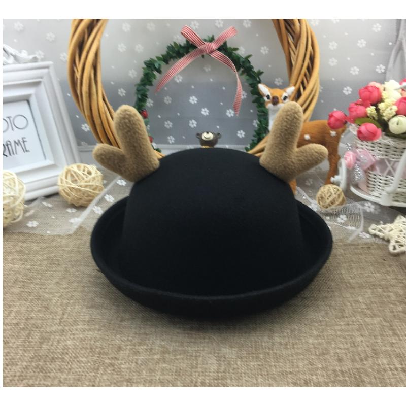 帽子女休闲毛呢秋冬英伦爵士圆顶盆丸子帽黑色小礼帽表演圣诞1  儿童款(50-54cm)内置调节绳 送帽贴一个 发货周期:一般在付款后2-90天左右发货,具体发货时间请以与客服协商的时间为准