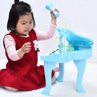 可爱儿童梦幻电子琴创意小孩女孩带话筒迷你初学钢琴玩具宝宝 天蓝色