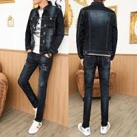 2018新款一套2018新款牛仔男套装韩版修身潮流外套夹克青年帅气非主流男装 图色