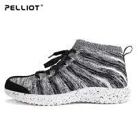 法国PELLIOT户外休闲鞋 男女高帮健走鞋 防滑耐磨透气运动鞋