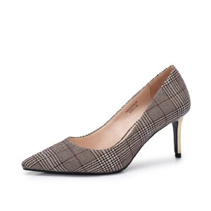 Camel/骆驼女鞋 秋季新款 英伦格纹典雅复古尖头女单鞋