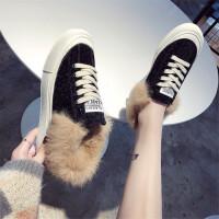 棉鞋女韩版2018冬季新款chic毛毛鞋学生加绒休闲鞋板鞋加厚保暖鞋