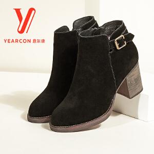 意尔康女鞋2017冬季新款真皮靴子女粗跟高跟磨砂短靴女英伦踝靴