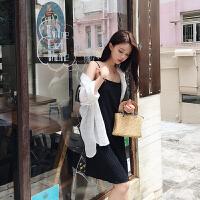 夏季白色无袖连衣裙女韩版学生打底背心裙显瘦露肩吊带A字裙潮 白色 均码