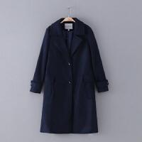 756 女装 冬季新款排扣纯色翻领长袖女式休闲外套毛呢大衣