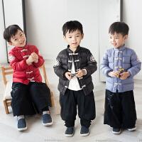 汉服童装儿童羽绒服轻薄冬款男童宝宝复古中国风印花保暖外套