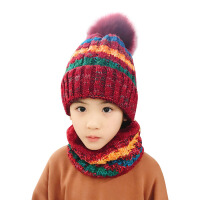 秋冬儿童毛线帽子围脖手套三件套男女童加绒保暖厚围巾套头帽亲子 身高130cm以上