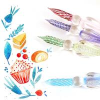 手工玻璃笔 蘸水笔水晶笔玻璃钢笔沾水笔复古工艺笔涂鸦笔水彩笔