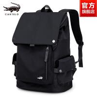 鳄鱼男士双肩包商务休闲电脑帆布简约时尚潮流书包背包旅游旅行包