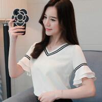 短袖女2018新款韩版白色衣服女夏季喇叭袖雪纺上衣宽松百搭T恤女