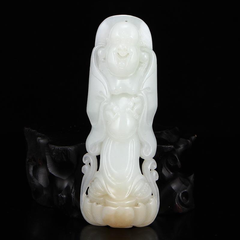 新疆和田玉糖玉精雕弥勒佛挂件天然玉石笑佛吊坠