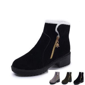WARORWAR新品YM159-E908-2秋冬休闲低跟粗跟女士靴子短靴