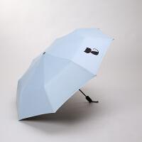 雨伞女小清新两用晴雨伞三折叠太阳伞黑胶遮阳伞