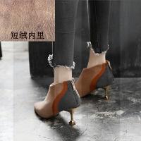 高跟鞋女秋冬2018新款小跟短靴子女韩版百搭小码31细跟32性感33SN6761