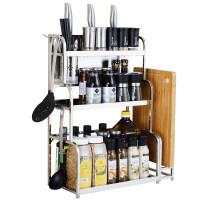 304不锈钢厨房置物架落地三层多功能收纳3层架刀架用品调味调料架o6s