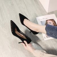 №【2019新款】冬天美女穿的女鞋网红鞋女高跟鞋细跟百搭尖头中跟单鞋黑色工作鞋