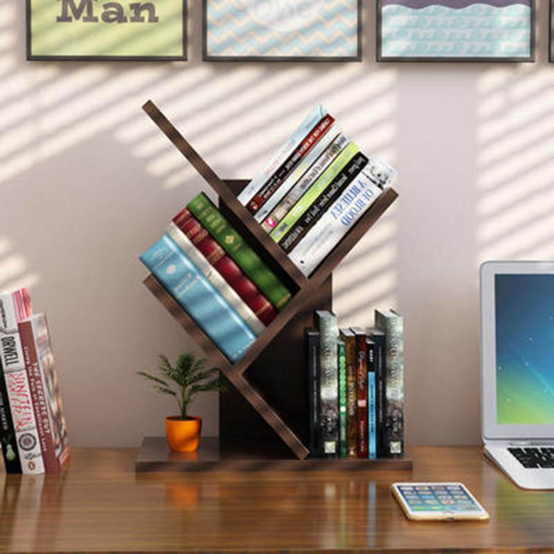 书架 家用书房桌上个性树形小书架办公桌多层木质架子儿童学生现代简约落地小书柜子