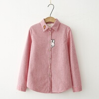 兔子刺绣加绒衬衣女长袖学生学院风冬装保暖打底条纹衬衫
