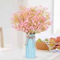 假花仿真花客厅小盆栽摆件室内餐桌插几摆设塑料装饰花束 深玫红 满天星+花瓶/个