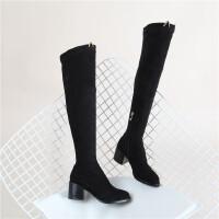 108 萌趣长靴显瘦款圆头粗跟过膝靴 弹力女靴