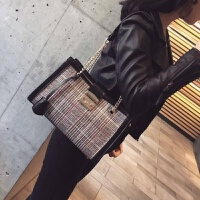 女包韩版格子大容量链条托特包时尚休闲手提单肩大包 黑色