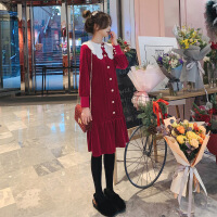 连衣裙女2019春季新款法式复古山本风娃娃领丝绒显瘦过膝打底裙子