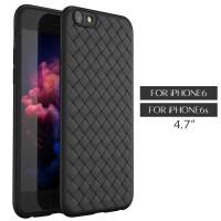 苹果6手机壳iphone6plus编织软壳6s个性bv皮纹全包防摔保护套i6潮 黑色 苹果6/6s(4.7寸)