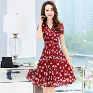 夏季新款韩版时尚中长款气质显瘦蕾丝刺绣通勤女士连衣裙