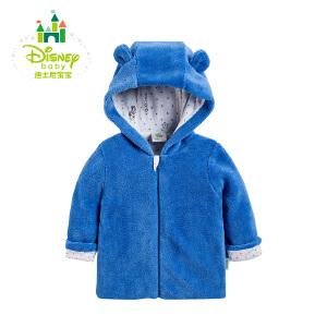 迪士尼Disney童装婴儿服饰春秋男女宝宝外套前开珊瑚绒带帽上衣外出服 153S715