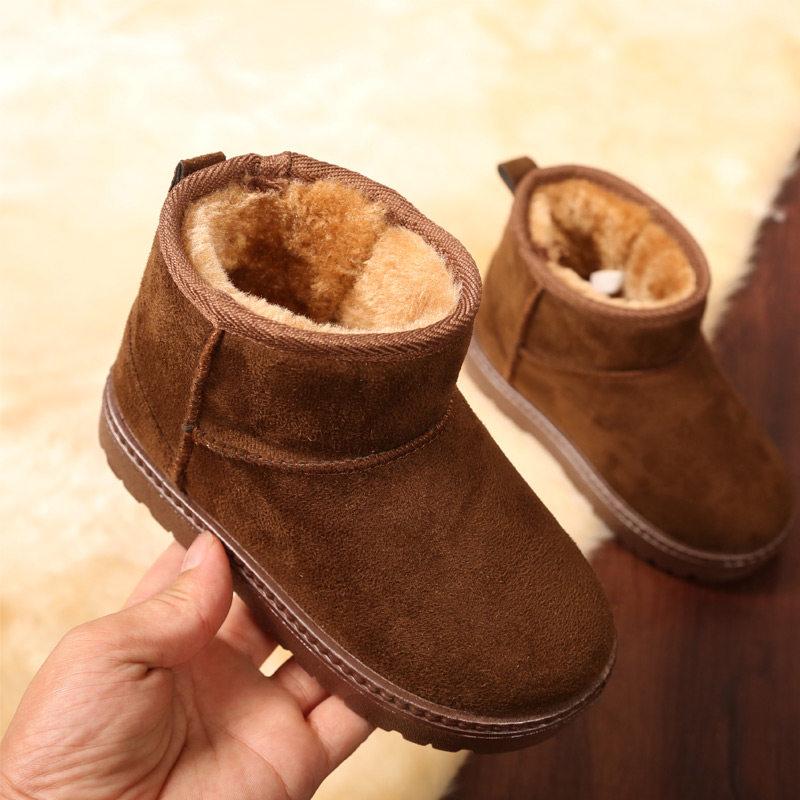 儿童雪地靴男童防滑保暖宝宝短靴子女童2018冬季新款棉鞋加绒童鞋