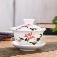 盖碗茶杯茶碗大小号茶具景德镇青花瓷泡茶碗陶瓷盖杯三才碗敬茶碗