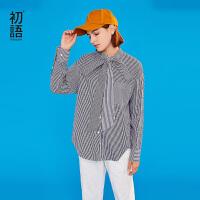 【1件3折价:99.5元】初语衬衫女纯棉春装新款条纹格纹拼接系带字母印花宽松衬衣