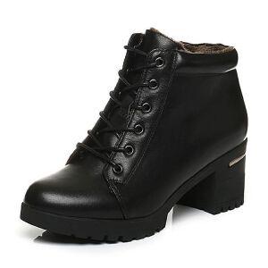 Belle/百丽冬季专柜同款黑牛皮粗跟女短靴(绒里)BIP47DD6