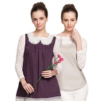 孕妇装秋冬孕妇衣服搭肚兜银纤维四季a194 暗紫色马甲+55%银纤维肚兜 L