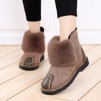 雪地靴冬季11毛毛靴平底9女大童13加绒保暖棉靴12学生短靴15 16岁