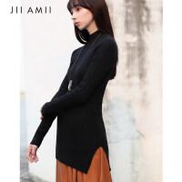 [AMII东方极简]设计师品牌JII[3件5折]2017秋装新款女装修身半高领开衩坑条竖纹毛衣中长款