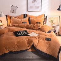 冬季短毛绒床上四件套珊瑚绒超柔保暖被套双面绒双人简约毛绒床单 -床盖式