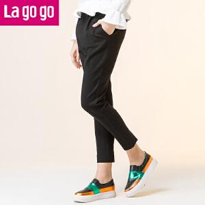 Lagogo/拉谷谷2017年冬季新款时尚简约脚口开衩休闲裤