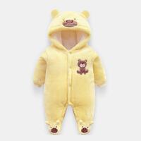 婴儿连体衣秋冬季宝宝衣服0-3-6个月加绒加厚新生儿初生外出抱衣