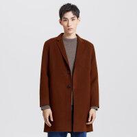 【1.18超品日全场2件2.5折,到手价:424.8】MECITY男装冬季新款斜插袋宽松羊毛双面呢大衣