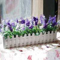 向日葵薰衣草雏菊木栅栏仿真花套装假花小盆栽桌面绿植装饰花摆件