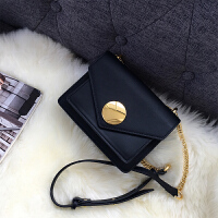 0530082434662锁扣包包女新款潮 韩版 百搭斜跨休闲女包时尚单肩包女链条包 黑色 预售