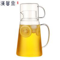 汉馨堂 凉水壶套装 高硼硅玻璃耐热耐高温冷水壶果汁瓶大容量1.3L晾开水锥形瓶扎杯套装