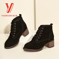 意尔康女鞋真皮马丁靴女英伦风冬复古短靴粗跟保暖女靴